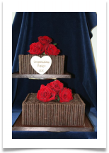 2 Tier Chocolate Birthday Cake With Plain Cigarillos 3 Perfect Fresh Red Roses