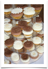 Chocolate and sponge cup cakes with white and milk chocolate paste tops and chocolate paste gerbera