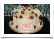 White Chocolate Birthday Cake With Belgian Ruffles And Cigarillos Dipped Strawberries